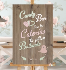 "Cartel ""Candy Bar"" rosa y verde"