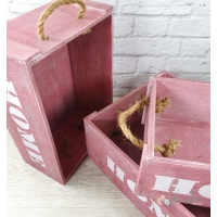 "Set 3 cajas ""Home"" color rosa"