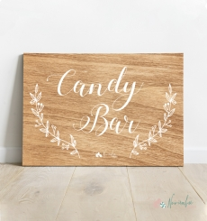 Cartel Candy Bar Madera y Blanco
